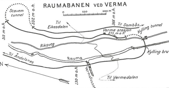 Raumabanens linjeføring ved Verma. <strong> Banedata 2004 </strong>