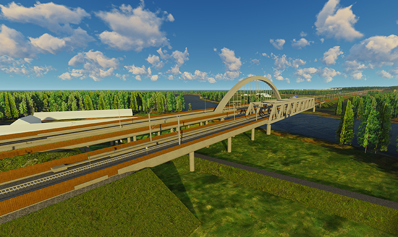 From the Ringerike Line and E16 Highway Joint Project: Proposed road and rail bridges (alternative B) at Mælingen.  (Illustration: Bane NOR)
