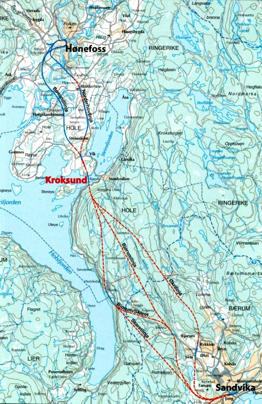 Alternative linjeføringer for en bane med kurveradius 200 km/t i 1999-planene.